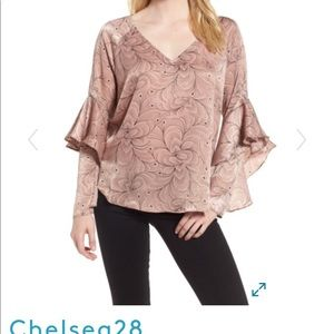 Chelsea 28 Pink Ruffle Sleeve Blouse Size Small